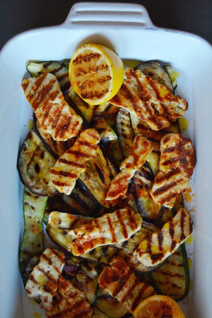 Grillede grønnsaker med haloumiost